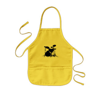 Black & White Drum Kit Silhouette - For Drummers Kids Apron