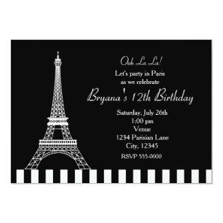 Black White Eiffel Tower Paris Party Invitation Invite