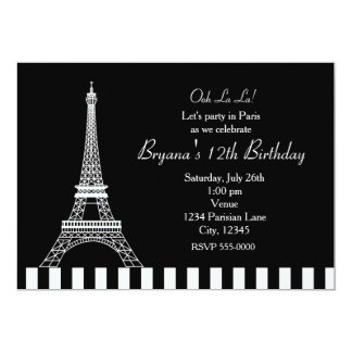 Black White Eiffel Tower Paris Party Invitation