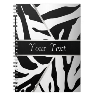 Black White Elegant Zebra Spiral Notebook