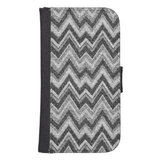 Black & White Faux Glitter Chevron Zigzag Pattern Samsung S4 Wallet Case