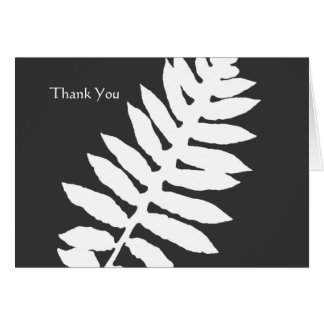 Black & White Fern Business Thank You Note Card