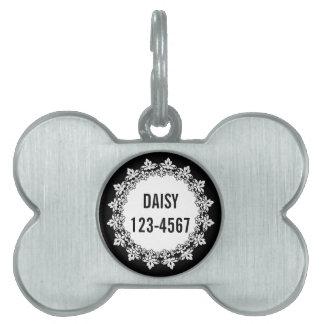 Black White Fleur de lis Personalized Dog Tag