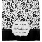Black White Floral Just Married Wedding Date Shower Curtain
