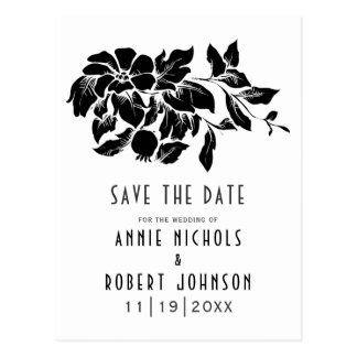 Black, white floral wedding Save the Date Postcard