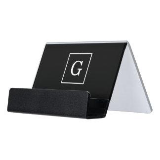 Black White Framed Initial Monogram Desk Business Card Holder
