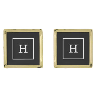 Black White Framed Initial Monogram Gold Finish Cufflinks