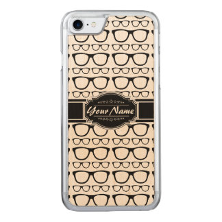 Black & White Geek Nerd Glasses Carved iPhone 7 Case