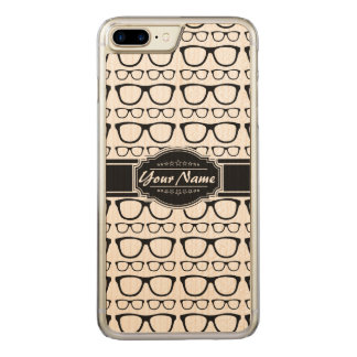 Black & White Geek Nerd Glasses Carved iPhone 8 Plus/7 Plus Case