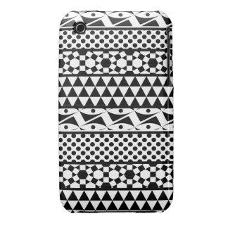 Black White Geometric Aztec Tribal Print Pattern Case-Mate iPhone 3 Cases