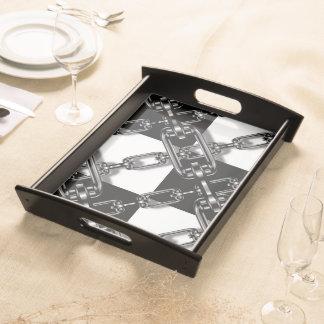 Black white gingham Custom Perfume serving tray