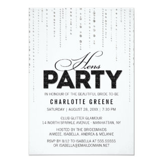 Black & White Glitter Look Hens Party Invitation