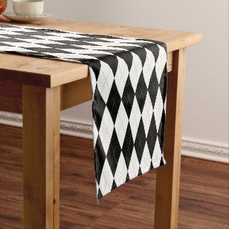 Black   White   Gold Argyle Pattern Short Table Runner