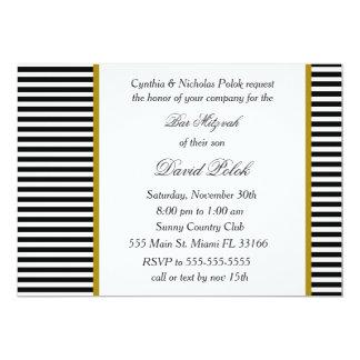 Black White Gold Bar Mitzvah Invitation