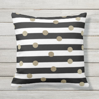 Black, White & Gold Dot & Stripe Outdoor Cushion
