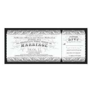 black white gray vintage wedding invitation ticket