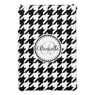 Black White Grey Houndstooth Monogram Pattern Cover For The iPad Mini