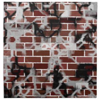 Black & White Grunge Graffiti Riddled Brick Wall Napkin