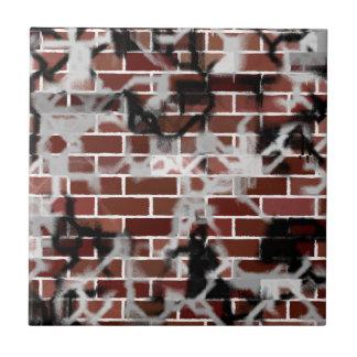 Black & White Grunge Graffiti Riddled Brick Wall Tile