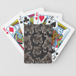 Black&White Grunge Leopard Heads Bicycle Playing Cards