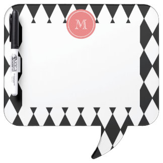 Black White Harlequin Pattern, Coral Monogram Dry Erase Board