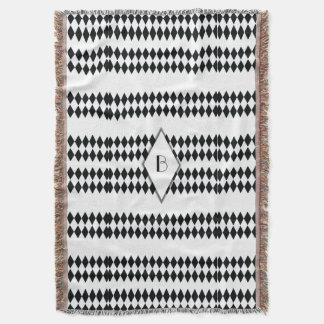 Black White Harlequin Pattern Monogram