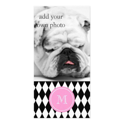 Black White Harlequin Pattern, Pink Monogram Custom Photo Card