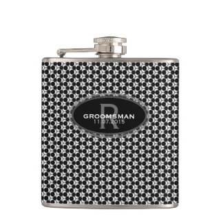 Black White Hexagon Pattern Groomsmen Gift Hip Flask