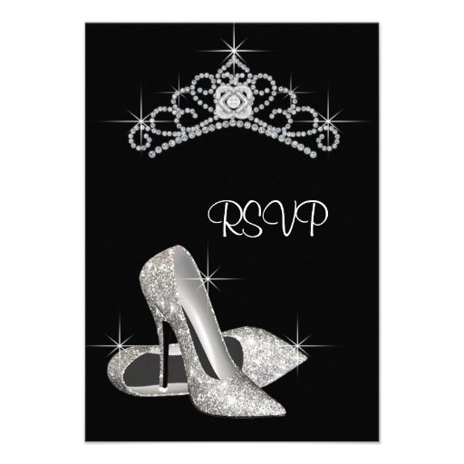Black White High Heels Quinceanera RSVP Personalized Invitation