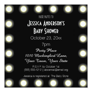 """Black & White Hollywood Theme Baby Shower 5.25"""" Square Invitation Card"""