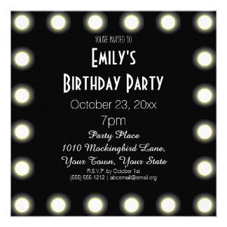 Black White Hollywood Theme Birthday Party Personalized Invitation