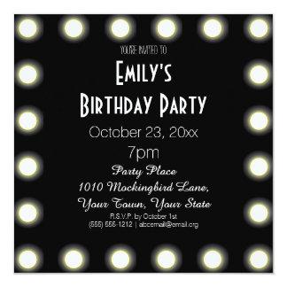 "Black & White Hollywood Theme Birthday Party 5.25"" Square Invitation Card"