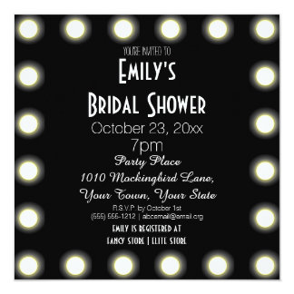Black & White Hollywood Theme Bridal Shower 13 Cm X 13 Cm Square Invitation Card