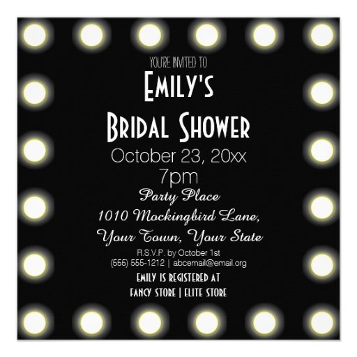 Black & White Hollywood Theme Bridal Shower Personalized Invites
