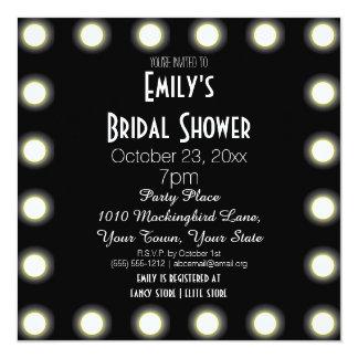 "Black & White Hollywood Theme Bridal Shower 5.25"" Square Invitation Card"