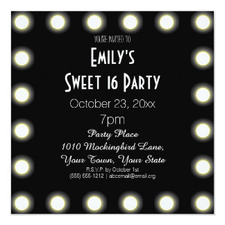 Black & White Hollywood Theme Sweet 16 Birthday 13 Cm X 13 Cm Square Invitation Card
