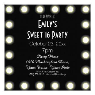 Black White Hollywood Theme Sweet 16 Birthday Custom Invitation