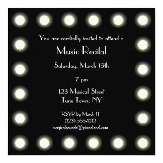 Black & White Hollywood Unisex Music Recital 13 Cm X 13 Cm Square Invitation Card