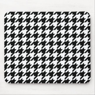 Black & White Houndstooth Pattern Mouse Pad