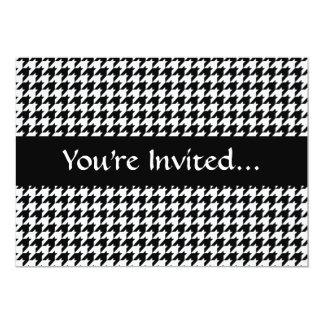 "Black/White Houndstooth Stylish Fashion Designer 5"" X 7"" Invitation Card"