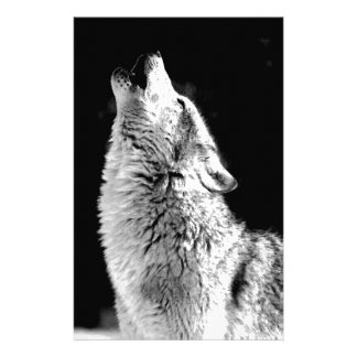 Black & White Howling Wolf Stationery