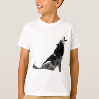 Black White Howling Wolf T-Shirt
