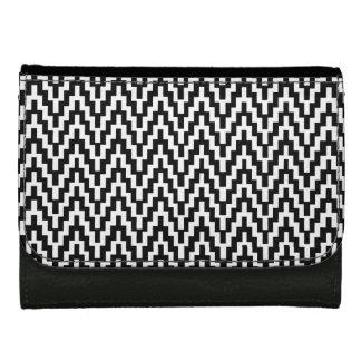Black White Ikat Chevron Zig Zag Stripes Pattern Wallet