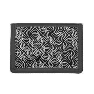 Black White Ikat Overlap Circles Geometric Pattern Tri-fold Wallet