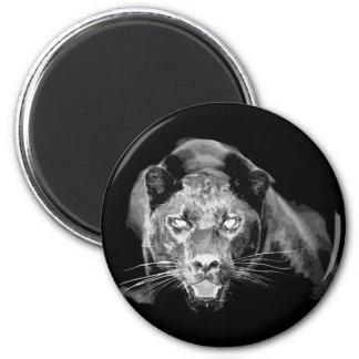Black & White Jaguar -Wild Cats 6 Cm Round Magnet