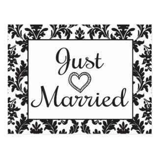 Black & White Just Married Floral Damask Wedding Postcard