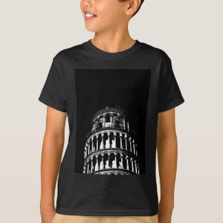 Black White Leaning Tower of Pisa Italy T-Shirt