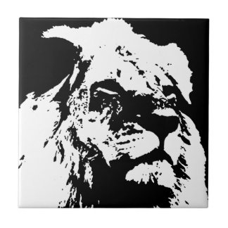 Black & white lion pop art tile