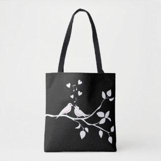 Black & White Lovebirds Wedding / Bridal Shower Tote Bag