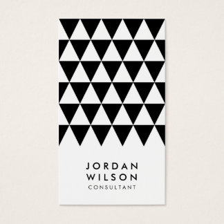 Black White Minimalist Triangle Geometric Business Card